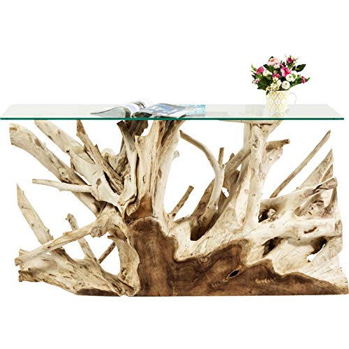 Kare Design Konsole Roots 150x40cm, Designer Konsole aus Wurzelholz mit Glasplatte, Unikat, Sideboard Echtholz, einzigartiges Schmuckstück, Teak Konsole, (H/B/T) 75x150x40cm