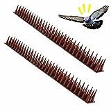 Maalr 12Pezzi Repellente per Uccelli in Plastica, Anti Dissuasori/Uccelli/Piccioni/Gatti Repellente Pannelli Spikes, Spike Repellenti per Esterno, Muro, Recinzione - 43 x 4 x 3,5 cm - 3 File (Marrone)