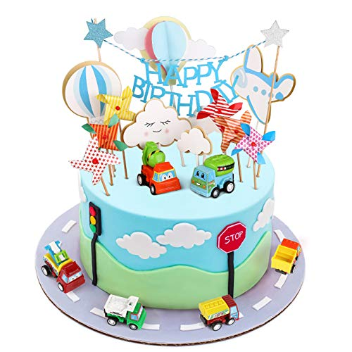 Toy Cars Cake Topper, Joyoldelf Happy Birthday Cake Topper, Car Airplane Windmill Hot Air Balloons Clouds Cake Decorations, Ideal for Adult Wedding Birthday Kids Baby Shower Party