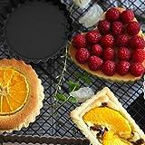 Molde redondo de acero con forma de corazón para tartas de Shijian, antiadherente, reutilizable, para hornear, acero al carbono, 12 cm Redondo Negro Gris, As Description