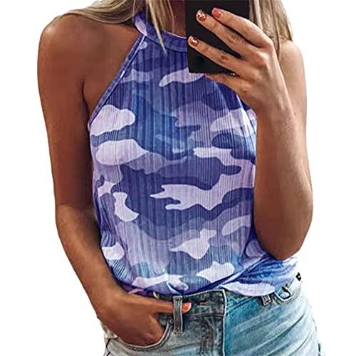 PRJN Camiseta sin Mangas con Estampado de Rayas Casuales para Mujer Chaleco sin Mangas Blusa sin Mangas para Mujer Tops de Verano Chaleco con Cuello Halter Sexy Camisas con teñido Anudado Blusa