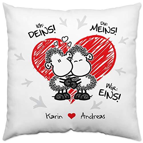 Sheepworld Kissen für Paare »Ich: Deins! Du: Meins! Wir: EINS!« mit Namen des Paares, weiß, personalisiert