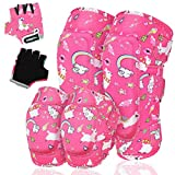 VUP Kids Protective Gear Soft Knee and Elbow Pads for Kids with Gloves Suitable for Cycling Scooter Bike Skateboard Skating Rollerblading (Alpaca, L)