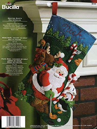 Bucilla 18-Inch Christmas Stocking Felt Applique Kit, 86145 Golfing Santa