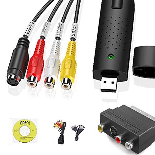 HOTSO Convertitore Video Grabber Audio, Scatola di Acquisizione USB 2.0 Converter VHS Capture Dgital S-Video RCA Cavo per Windows 10 8 7 Vista XP + Adattatore Scart/Cavi RCA