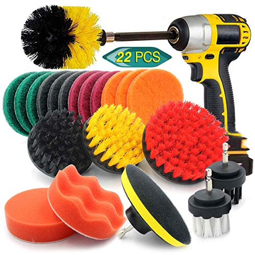 22 Pcs Drill Brush Attachments Power Scrubber Set for Cleaning- Scrub Pads & Sponge, Pad Sponge Kit with Extend Long Attachment. For Grout, Tiles, Sinks, Bathroom, Kitchen, Home, Car, Floor, Corners