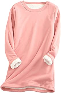 S-Fly Womens Solid Color Thermal Round Neck Long Sleeve Fleece Casual T Shirts