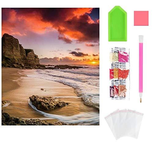 Wishstar Diamond Painting Atardecer y Playa, 5D Diamante Pintura Kits DIY, Cuadro de Diamantes Manualidades Decoración del Hogar Art (30x 40 cm)