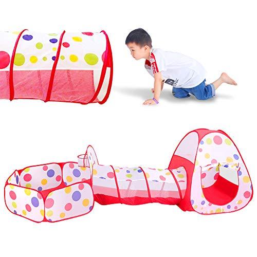 Meigirlxy Tenda da Gioco per Bambini da Interno / Esterno, Pop Up Tenda Giocattolo con Tunnel, Casetta e Piscina di Palline (Sfere Non Inclusa)