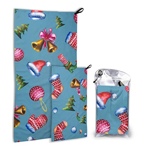 Xuyonh Cute Fashion Creative Magic Boots 2 Pack Microfiber Mens Beach Towel Soft Towel Set Fast Drying Best for Gym Travel Backpacking Yoga Fitnes