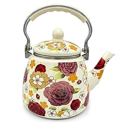Enamel Teapot floral,Large Porcelain Enameled Teakettle,Colorful Hot Water Tea Kettle pot for Stovetop (3.3L)