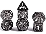 Schleuder D&D Dados Dungeons and Dragons Dados de rol, Dice Metal Gold Set Poliédricos Hueco Pathfinder Juego de Dados Game, Dragones y Mazmorras Juego de Mesa (Níquel Negro)