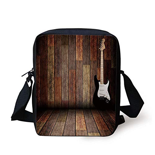 LULABE Popstar Party,Electric Guitar in the Wooden Room Country House Interior Music Theme,Brown Black White Print Kids Crossbody Messenger Bag Purse