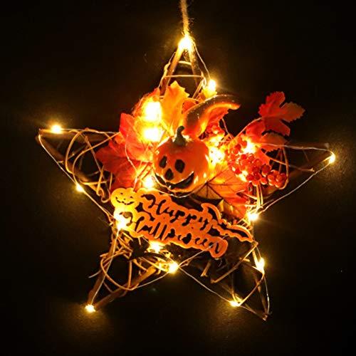 Qeedio - Decoración Colgante de Madera para Halloween, diseño de Calabaza, Hojas de otoño, Corona de Halloween, decoración de la Puerta sin luz, with Light, Medium