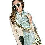 DANA XU 100% puro lana mujer bufanda de gran tamaño Pashmina (Blue)