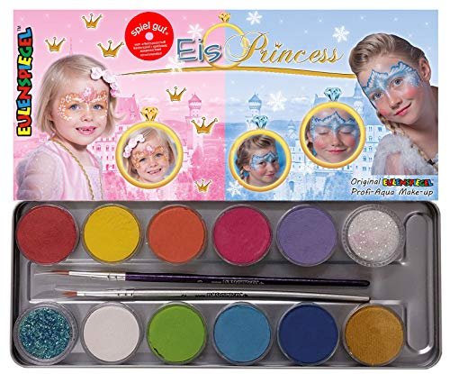 Eulenspiegel 212219 Make-uppalet met ijs, veganistische kleuren en penselen, kinderschminken, carnaval, carnaval, make-up