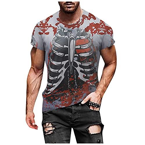 Halloween T-Shirt Herren Lustiges 3D Digitaldruck Kurzarmshirt Rundhals Shirt Oberteil Sommershirt Fit Slim Tops Laufshirt Weich Atmungsaktives Tanktop Casual Sweatshirt Sportshirt