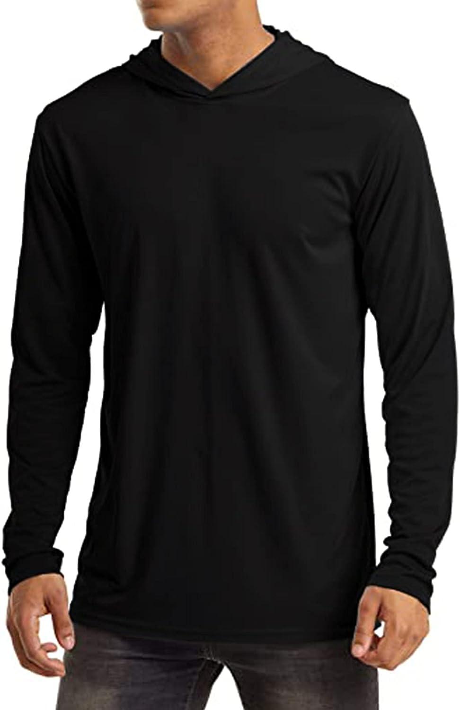 Huangse Men's UPF 50+ Sun Protection Hooded Shirt Workout Hoodie Long Sleeve Fishing Hiking Outdoor Shirts