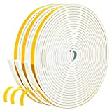 White Weather Stripping 49.5 Feet, 1/4 Inch Wide X 1/8 Inch Thick, Window Seal High Density Foam Sealing Strip Adhesive Foam Gasket Tape for Door Insulation, 16.5 Ft x 3 Rolls Each