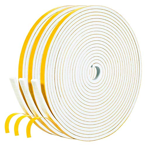 White Weather Stripping 50 Feet, 1/4 Inch Wide X 1/8 Inch Thick, Window Seal High Density Foam Sealing Strip Adhesive Foam Gasket Tape for Door Insulation, 16.5 Ft x 3 PCS Each