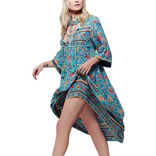 Floridivy Vrouwen Summer Bohemian V-hals gebloemde Mid-length mouwen chiffon lange mouwen jurk, v-hals zomer strand jurk