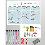 Magnetic Calendar Whiteboard Fridge 2021, Magnetic Dry Wipe Erase Whiteboards Set Includes 2 Pcs White Boards 6 Markers 1 Big Eraser 4 Magnets,Family Monthly Planers Refrigerator Organizer