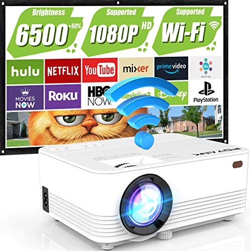 "WiFi Projector, POYANK Upgraded 6500Lumens Portable Mini Projector, Full HD 1080P and 200"" Display Supported, Compatible with Phone/TV Stick/HDMI/AV/USB/TF/VGA"