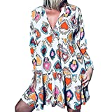 Damen Sommerkleider V-Ausschnitt Strandkleider, Casual A-Linie Kleid Bohemian Kleid Quaste Midi Kleid Knielang Lose Freizeitkleid -