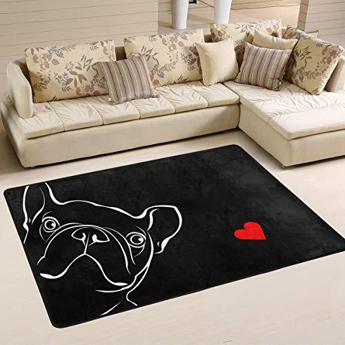Mnsruu Teppich 183 x 122 cm, Französische Bulldogge Schwarz Bedruckt Teppich Wohnzimmer Dekor Bodenmatte Teppich für Schlafzimmer