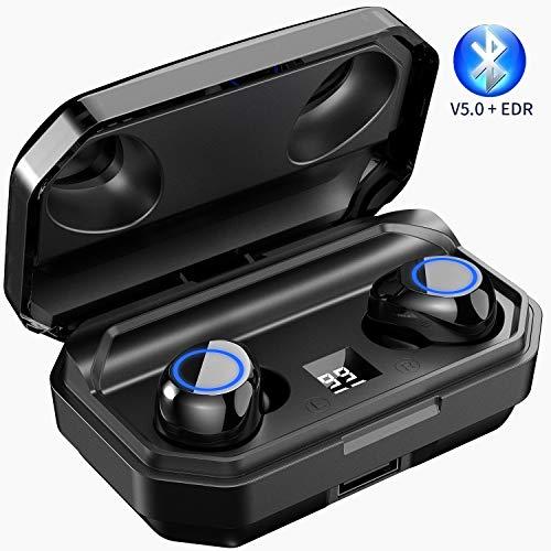 Picun 100 Stunden Akkulaufzeit Bluetooth Kopfhörer 2000-mAh Powerbank Ladebox Intensivem HIFI Bass True Wireless Earbuds mit Mikrofon, BT 5.0 EDR IPX7 Wasserdicht Kabellose Kopfhörer, Single/Twin Mode