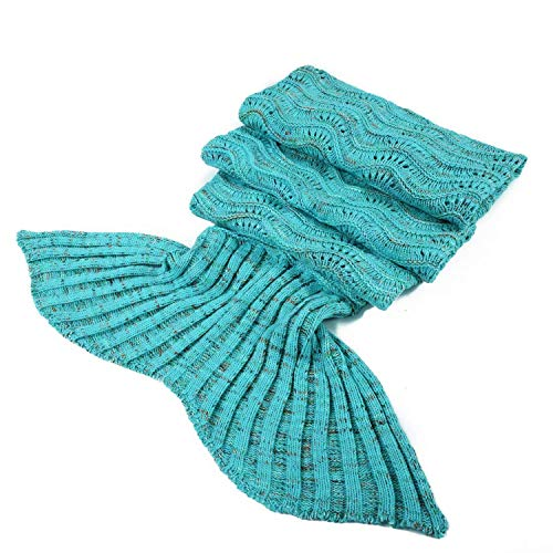 DDMY Mermaid Tail Blanket Crochet Mermaid Blankets Seasons Warm Soft Handmade Sleeping Bag Best Birthday Christmas gift For Kids Teens Adult 74''x35'' Mint Green