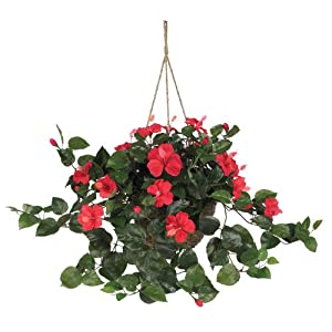 Nearly Natural 6614-RD, Red Hibiscus Hanging Basket,10.25″ x 10.25″ x 17.5″