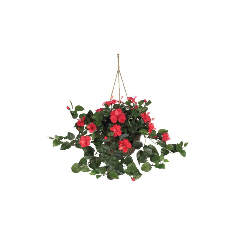 """silk flower arrangements nearly natural 6614-rd, red hibiscus hanging basket,10.25"""" x 10.25"""" x 17.5"""""""
