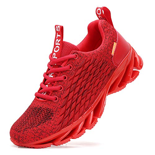 TSIODFO Men Sport Running Sneakers Casual Tennis Athletic Walking Shoes mesh Breathable Comfort Gym Runner Jogging Shoes red Size 9.5