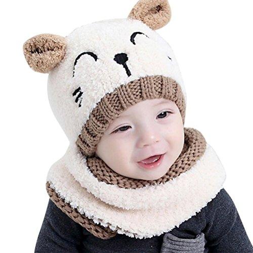 EDOTON Cappello Knit e Set di Sciarpe Orso del Bambino Berretto Beanie Bambini Invernale Caldo Cappello per Cappelli da Bambino 1-3 Anni (Beige)