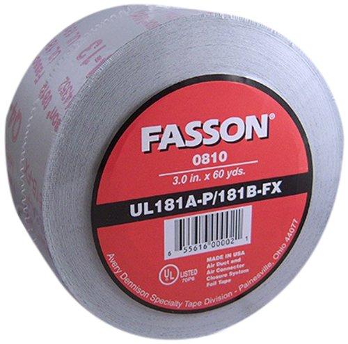 Avery Dennison Fasson 0810 Aluminum Foil HVAC Duct Tape, UL 181A-P/181B-Fx, Silver, 180 ft x 2.5 in, Box of 16