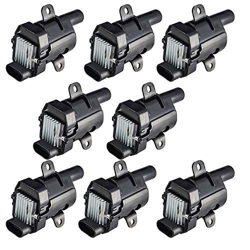 ENA Compatible with Round Ignition Coils Pack of 8 Chevy Silverado 1500 2500 Tahoe Suburban Express GMC Sierra Savana Yukon XL Escalade Isuzu 12563293 D585 C1251 19005218 UF262 V8 4.8L 5.3L 6.0L