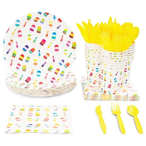 Juvale Disposable Dinnerware Set - Serveert 24 - Zomer Feestartikelen voor Kinderen Verjaardagen, Popsicles Design, Inclusief Plastic Messen, Lepels, Vorken, Papier Platen, Servetten, Bekers