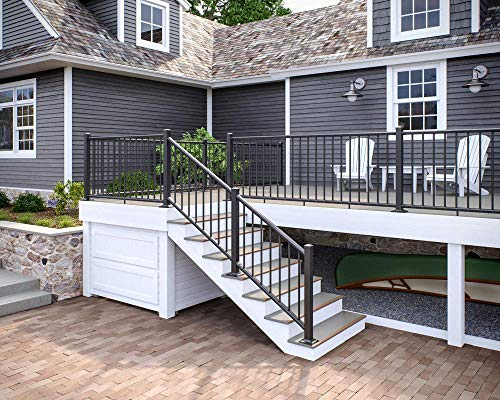 Deckorators ALX Classic Complete Aluminum Railing Kit with Estate Balusters - Matte Black 6 ft Stair Rail - Posts Not Included