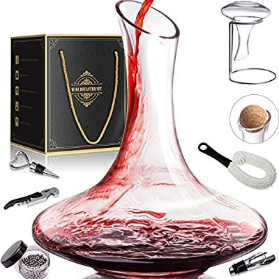 1800ML Crystal Glass Wine Decanter Wine Carafe Gifts for Red Wine Lover, Decanter with Wine Accessories - Wine Bottle Opener, Wine Stopper & Pourer, Cleaning Brush & Beads & Drying Stand & Cork