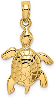 14k Yellow Gold 2 D Turtle Textured Sea Shell Mermaid Nautical Jewelry Pendant Charm Necklace Animal Fine Jewelry Gifts For Women For Her