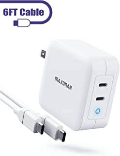 """USB C Charger, Maxonar 100W 2-Port Type C Wall Charger [GaN Tech] PD 3.0 Laptop Power Adapter with Cable, Foldable Fast Charging Station Compatible with MacBook Pro 16"""", Surface, Dell XPS, Pixel, HP"""