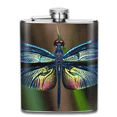 Rundafuwu Frasco para Licor, Stainless Steel Flask Ature Wild Butterlfy Whiskey Flask Vodka Portable...