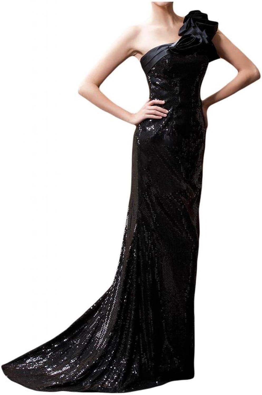 Angel Bride 2015 Stylish Sheath One Shoulder Satin Paillette Prom Gowns Long