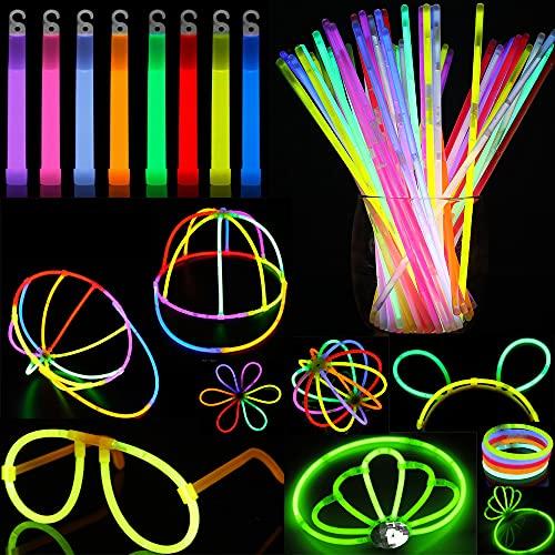 Sundom Braccialetti Luminosi Fluorescenti 322 Pz, Contiene 160 Bastoncini Luminosi, 150 Connettori, 6 Occhiali, 4 Braccialetti Tripli, 4 Fascia per la Testa, Utilizzati per Compleanni, Feste, Concerto