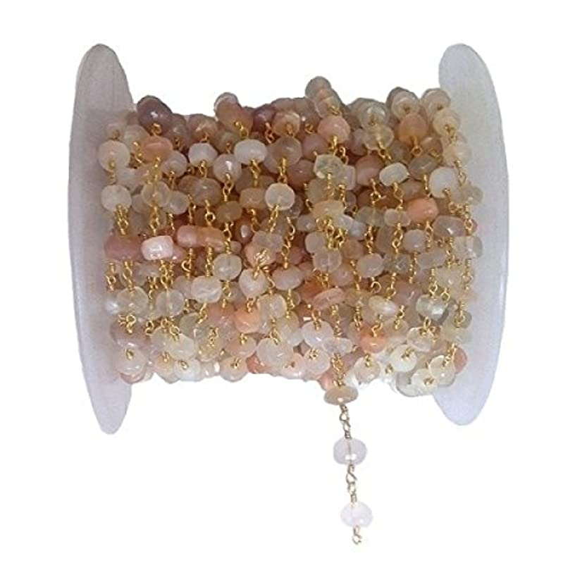 3 feet Natural Multi Moonstone h Bead 8mm 24k Gold Plated Rosary Style Chain by bestinbeads, Natural semi Precious Gemstone Beaded Chain by The Foot, Jewelry Making Chain