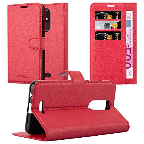 Cadorabo Coque pour WIKO View Lite en Rouge Cerise - Housse Protection avec Fermoire Magnétique, Stand Horizontal et Fente Carte - Portefeuille Etui Poche Folio Case Cover
