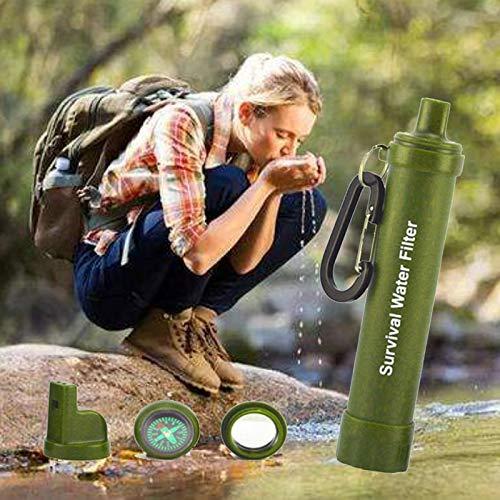 NO Logo Purificateur d'eau d'extérieur Camping Randonnée Urgence Vie Survie Portable Purificateur d'eau Filtre à Paille Multifonction Outils, Vert