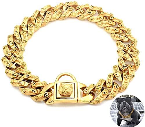 wuquansy Collar De Cadena De Choke De Perro De Oro, Acero Inoxidable De Servicio Pesado Enlace Cubano Collares De Entrenamiento Chapado En Oro para Perros Pequeños, Medianos Y Grandes(Size:22in)