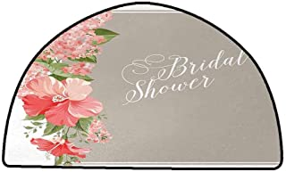 Designed Kitchen Bathroom Floor Mat Colorful Bridal Shower,Lilacs Orchids with Leaves Corner Frame Bride Floral Arrangement,Salmon Green and Beige,W47 x L31 Half Round Kitchen Rugs Non Skid Washable